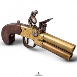 Pistolet à silex à double...